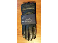M&S touchscreen black leather gloves size S BNWT