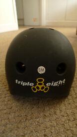 Triple 8 brainsaver helmet (S/M) scooter bmx skateboard protection certified lid mat black