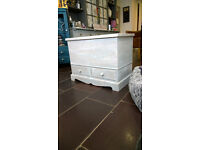 Mule Chest Blanket Box Toy Ottoman Chest Coffee Table Grey/White French Country