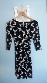 Stella Morgan lace dress 3/4 sleeve size 8 black with butterflies