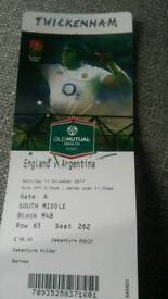 England Rugby tickets x 2: 11th November 2017