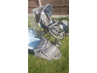 Complete travel system for baby and toddler includes car seat, pram with shopping basket + carry cot