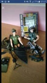 H.M. Forces toys-canoe soldier & desert soldier with accessories also compass/signalling torch