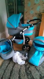 3-1pram for sale handy used £120 ono can deliver if not to far