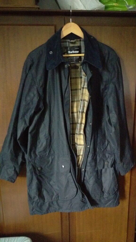 21603fba43a Barbour Border Wax Jacket Navy - Size 42 Chest Large C42 107cm ...