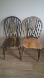 2 Dining Chairs - Shabby Chic solid wood