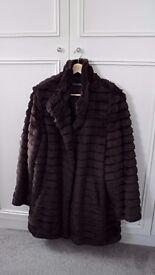 3/4 length Brown faux fur jacket