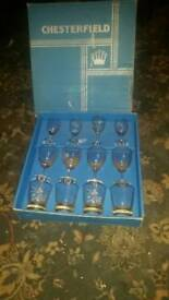 Vintage 1960's English Chesterfield 12 piece glass box set