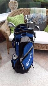 Benross bag and 3, 5, 7 and 9 Skymax irons plus putter for sale