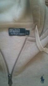 Polo Ralph Lauren Light Grey Marl Zip-Through Hoodie LARGE