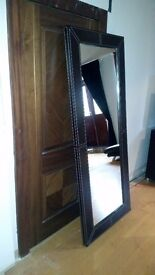 Large (190 x 80 cm) Heavy Mirror with Wood and Stitched Leather Frame