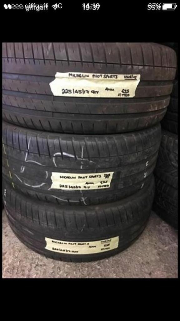 225/45/17 91Y MICHELIN PILOT SPORT 3 pair of 2 tyres