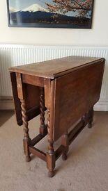 Vintage Dropleaf Dining Table w Barley Twist Leg Supports