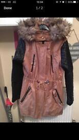 Ladies parka coat with fur hood size uk 16 like new