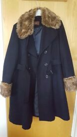 Navy blue coat with fury collar women in size 14