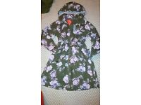 Brand New South Coat Floral Parker Hooded UK 8