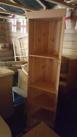 Solid pine corner bookshelves