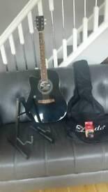 Left handed guitar, stand, tuner & carrier bag