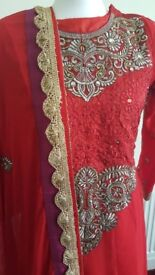 Indian/pakistani 3 piece anarkali suit for eid or weddings.Stunning red with gold.