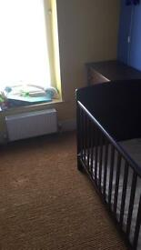 Cot Bed in dark wood