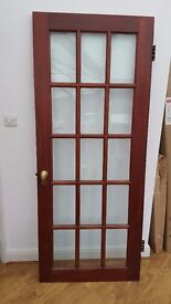 3 x Solid Wooded doors with glass panels