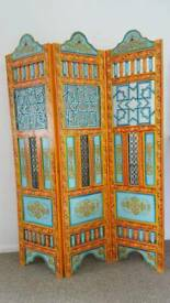 Morroccan Mexican Heavy Wooden Carved Room Partition Screen