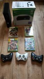 Xbox 360 4gb console bundle with 3 controllers and 3 games