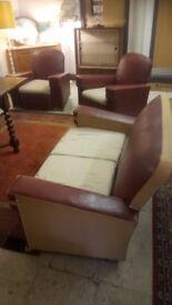 Original RARE VINTAGE 1930's Vinyl red / cream leather suite Read Description £125 Stalybridge SK15