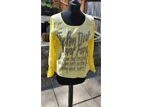 Ladies yellow oversize top with sequins