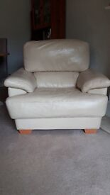 Leather 2 seater sofa with armchair and foot stall