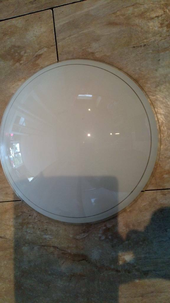 Glass circular bathroom ceiling light shade. Frosted glass. Shade only, no fittings.