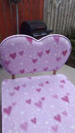 Pink single heart bed with headbord