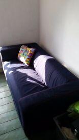 IKEA KLIPPAN 2 seat sofa with Denim cover.