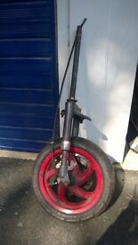 moped front wheel and forks