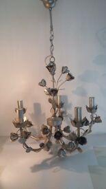 Chandelier 5 Bulb Laura Ashley rose design silver effect