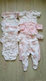 Baby grows and vests. First size.