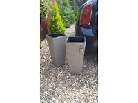 2 modern grey/beige rattan planters