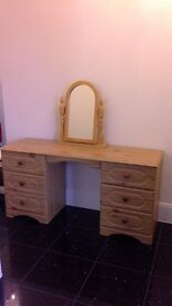 Immaculate solid pine dressing table and ornate mirror