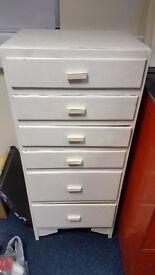 Vintage white tall boy set of drawers