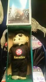 Teddy bear. Racing texaco