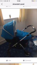 Sky blue silver cross wayfarer , pushchair and carrycot