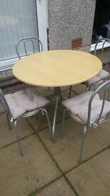 Table & 4 Matching Chairs, Kitchen / Dining - Round Wood Laminate, Metal Frame, Large
