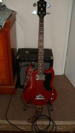 Epiphone EB-0 short-scale bass guitar and Cruiser 35 watt bass amp