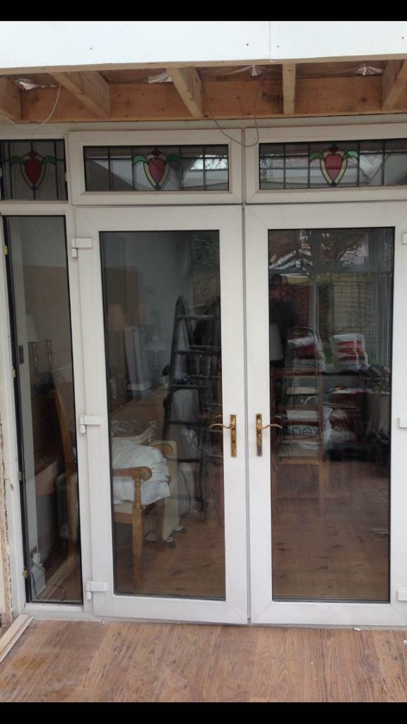 Pvc French Doors With Side Light To Right With Leaded Stained Glass