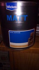 Wickes Vinyl Emulsion Blue Matt Paint 3 x 2.5L