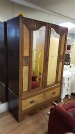 Beautiful Solid Wood Double Wardrobe With Drawer