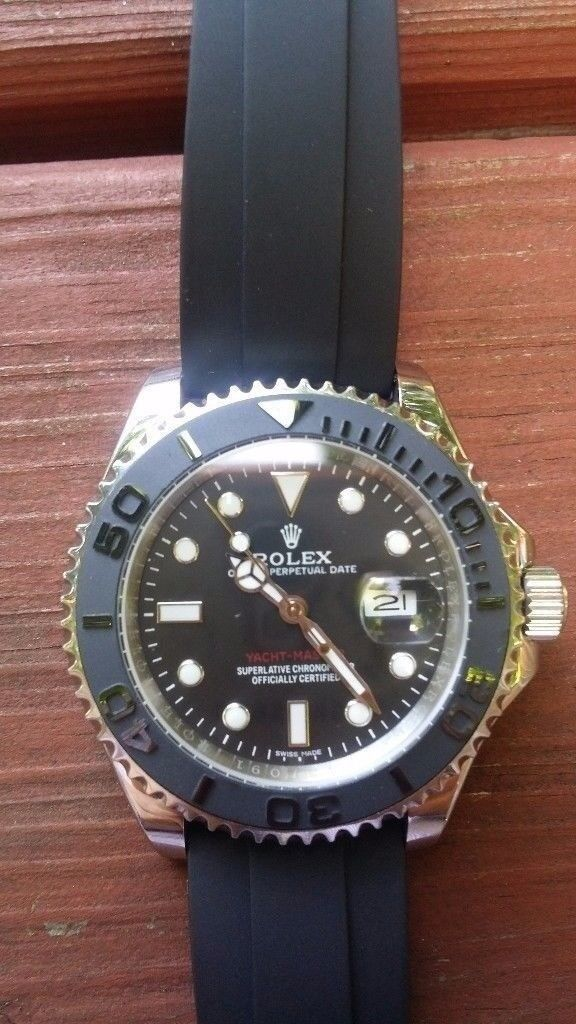 rolex yacht master ii black face silver casing flip lock clasp 2.5x date magnification waterproof