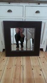 Brown Square Leather Mirror with Beige Stich Detailing (matching Bin available)