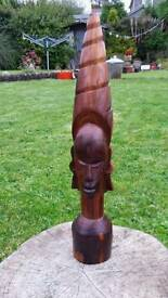 """Beautiful hand carved wooden male African head 20.5"""" tall"""
