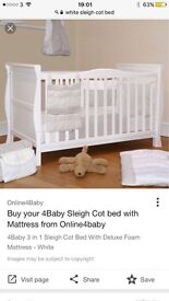 Used White sleigh cot bed